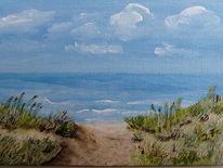 Wolken, Gras, Meer, Strand