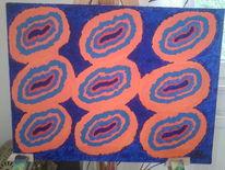 Wurm, Acrylmalerei, Blaukomplementäre, Malerei