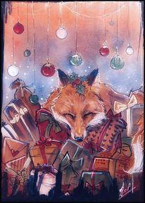 Weihnachten, Fuchs, Presens, Zeichnungen