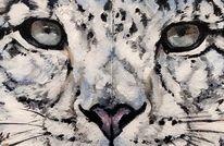 Schneeleopard, Wildtier, Schnee, Malerei