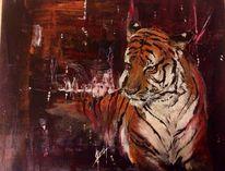 Wildtier, Acrylmalerei, Portrait, Tiere
