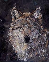 Wolf, Acrylmalerei, Malerei,
