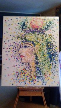 Ägyptisch, Pointillistisch, Malerei,