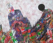 Mischtechnik, Afrika, Acrylmalerei, Sand