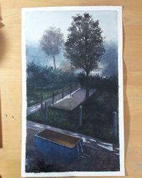 Arbeiten, Baustelle, Aquarellmalerei, Dunst