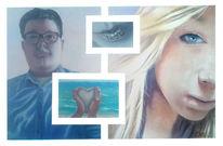 Strand, Herz, Portrait, Meer