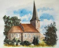 Friedhof, Kirche, Brück, Aquarell