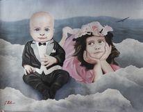 Portrait, Kinder, Kleinkind, Wolken