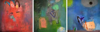 König, Triptychon, Abstrakt, Licht