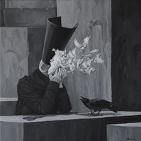 Surreal, Malerei, Acrylmalerei, Schwarz