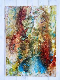 Acrylmalerei, Steinkreide, Struktur, Abstrakt