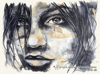 Illustration, Frau, Aquarell, Aquarell illustration portrait