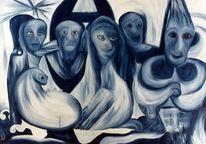Blau, Menschen, Acrylmalerei, Entscheidung