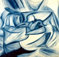 Acrylmalerei, Malerei, Geborgenheit, Blau