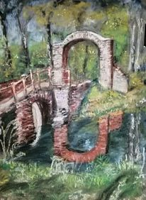Natur, Teich, Spiegelung, Brücke