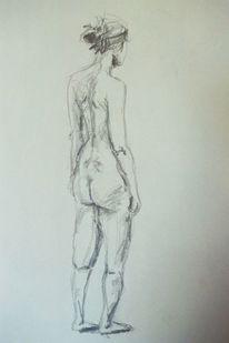 Zeichnung, Skizze, Akt, Frau
