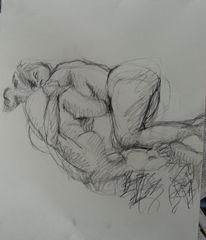 Menschliche, Frau, Skizze, Bleistiftzeichnung