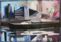 Boot, Spiegelung, Mischtechnik, Landschaft