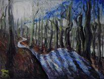 Fahrradweg, Wald, Malerei,
