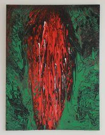 Acrylmalerei, Wasserfall, Abstrakt, Grün