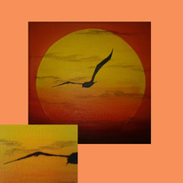 Sonnenuntergang, Natur, Acrylmalerei, Sonne
