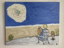 Urlaub, Sehnsucht, Acrylmalerei, Strand