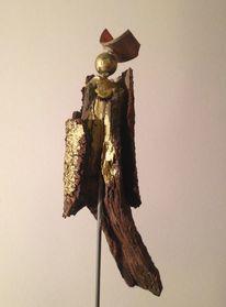 Holz, Kupfer, Figur, Kunsthandwerk