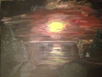Malerei, Wasser, Mond, Landschaft