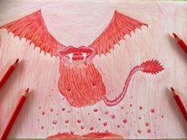 Buntstiftzeichnung, Fliegen, Zeichnen, Rot
