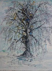 Natur, Schnee, Blau, Malerei
