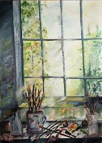 Gelb, Fensterplatz, Ölmalerei, Fenster