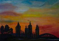 Blau, Malerei, Stadt, Natur