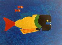 Satiere, Ozean, Lauer, Acrylmalerei