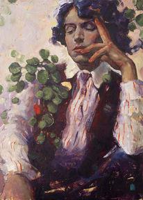 Ölmalerei, Jung, Blumen, Klassisch