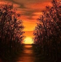 Abendstimmung, Abend, Sonnenuntergang, Malerei