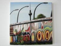 Fernsehturm, Himmel, Berliner mauer, Malerei