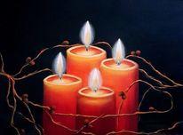Licht, Rot, Kerzen, Malerei