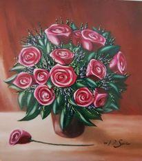 Malerei, Stillleben, Rose, Blumen