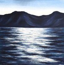 Dämmerung, Wasser, See, Berge