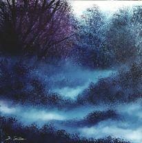 Nebel, Blau, Wald, Malerei