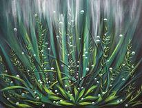 Wasserpflanzen, Unterwasser, Luftblasen, Malerei