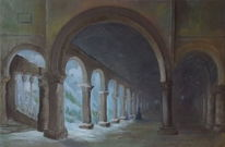 Berge, Burg, Paar, Malerei
