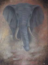 Erde, Elefant, Nebel, Malerei