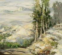 Landschaft, Berge, Gemälde, Kiefer