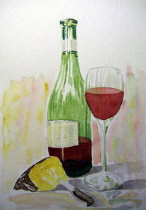 Aquarell käse rotwein, Aquarell, Käse, Rotwein