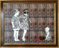 Antike tür, Frau, Blumen, Kind