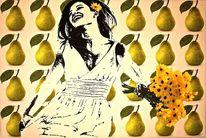 Früchte, Malerei, Acrylmalerei, Portrait