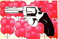 Luftballon, Malerei, Acrylmalerei, Revolver
