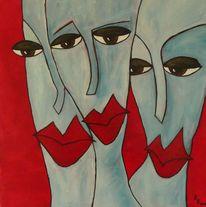 Rote lippen, Weiß, Rot schwarz, Frau