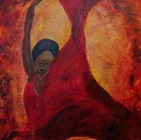 Rot schwarz, Feuertanz, Gelb, Acrylmalerei
